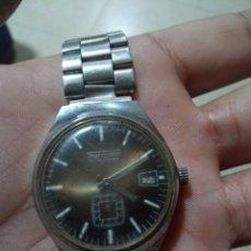 Relojes de pulsera: ANTIGUO RELOJ MARCA THERMIDOR CON CALENDARIO CARGA MANUAL FUNCIONANDO ESFERA COLOR CAFÉ. Lote 285169143
