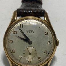 Relógios de pulso: RELOJ LANDI CARGA MANUAL Y CAJA CHAPADA ORO EN FUNCIONAMIENTO. Lote 286321043