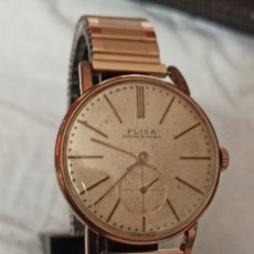 Relojes de pulsera: RELOJ FLICA ANCRE 15 RUBIS CHAPADO 10 MICRAS ORO FUNCIONA BIEN. Lote 287209308