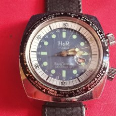 Relojes de pulsera: RELOJ H&R 17 JEWELS SUPER DATOMATIC WATERPROOF 1002 FUNCIONA .MIDE 38.9 MM DI. Lote 295790583