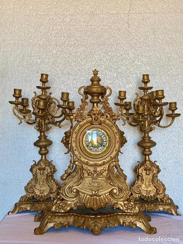 Relojes- Breitling: CONJUNTO DE RELOJ Y CANDELABROS DE BRONCE - Foto 2 - 153277770