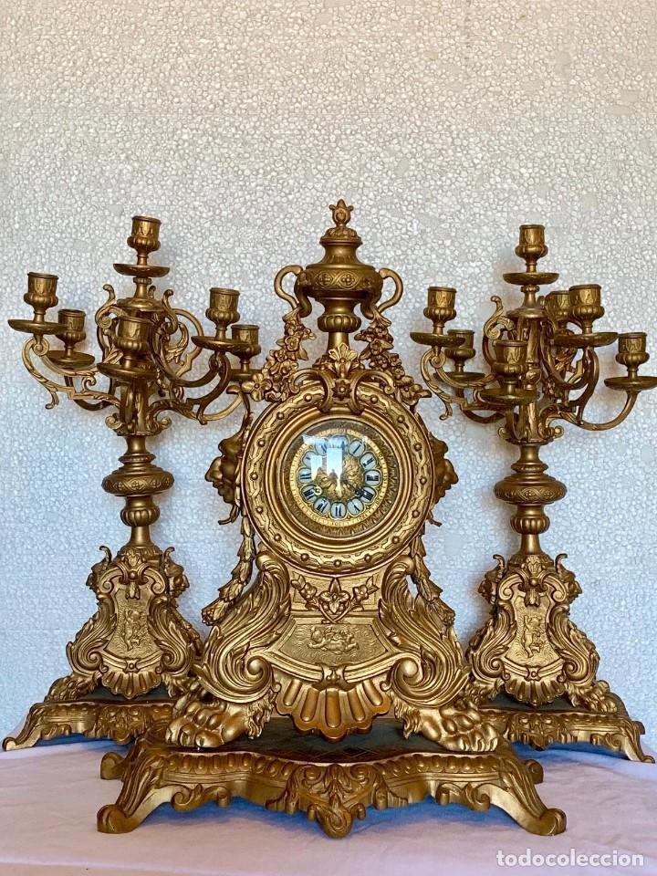 Relojes- Breitling: CONJUNTO DE RELOJ Y CANDELABROS DE BRONCE - Foto 4 - 153277770