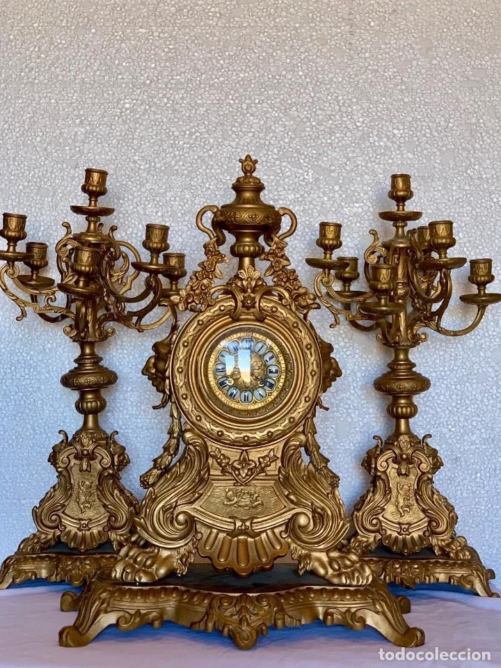 Relojes- Breitling: CONJUNTO DE RELOJ Y CANDELABROS DE BRONCE - Foto 9 - 153277770