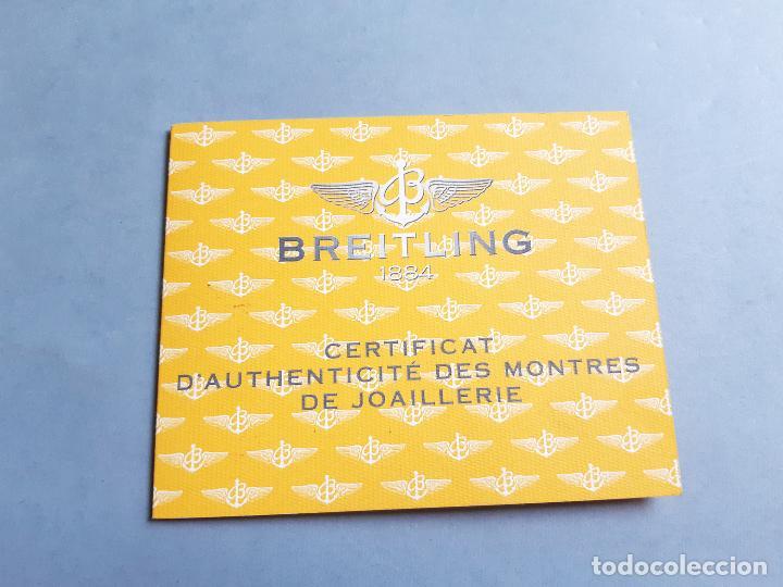 CERTIFICADO DE RELOJ BREITLING. CERTIFICAT D'AUTHENTICITÉ DES MONTRES DE JOAILLERIE. CALLISTO ACIER (Relojes - Relojes Actuales - Breitling)