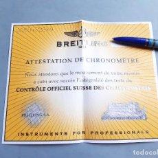 Relojes- Breitling: CERTIFICADO DE RELOJ BREITLING. ATTESTATION DE CHRONOMETRE. Lote 206994392