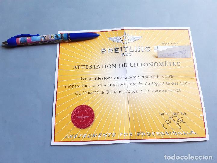 CERTIFICADO DE RELOJ BREITLING. ATTESTATION DE CHRONOMETRE (Relojes - Relojes Actuales - Breitling)