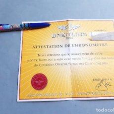 Relojes- Breitling: CERTIFICADO DE RELOJ BREITLING. ATTESTATION DE CHRONOMETRE. Lote 206995956