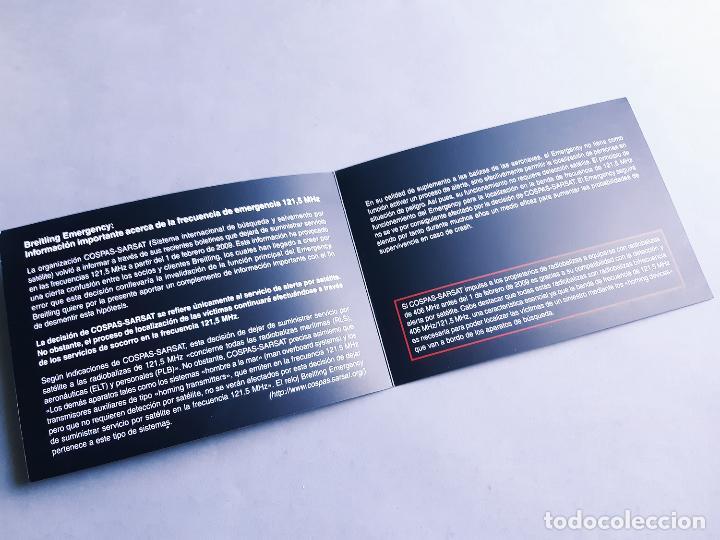 Relojes- Breitling: FOLLETO DE INFORMACIÓN DEL RELOJ BREITLING EMERGENCY 121.5 MHZ - Foto 2 - 207027778