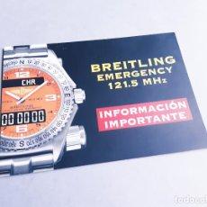 Relojes- Breitling: FOLLETO DE INFORMACIÓN DEL RELOJ BREITLING EMERGENCY 121.5 MHZ. Lote 207027778