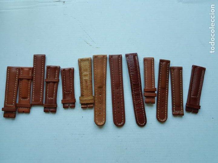 BREITLING LOTE DE TROZOS DE CORREAS CUERO ORIGINALES PROCEDENTES JOYERIA 16 A 20 MM (Relojes - Relojes Actuales - Breitling)