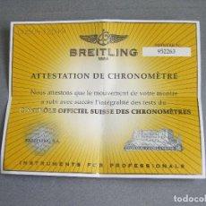 Relojes- Breitling: CERTIFICADO AUTÉNTICO DE RELOJ BREITLING. ATTESTATION DE CHRONOMETRE - CERTIFICATE CHRONOMETER. Lote 239695075