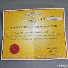 Relojes- Breitling: CERTIFICADO AUTÉNTICO DE RELOJ BREITLING. ATTESTATION DE CHRONOMETRE - CERTIFICATE CHRONOMETER. Lote 239695270