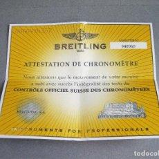 Relojes- Breitling: CERTIFICADO AUTÉNTICO DE RELOJ BREITLING. ATTESTATION DE CHRONOMETRE - CERTIFICATE CHRONOMETER. Lote 239695540
