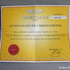 Relojes- Breitling: CERTIFICADO AUTÉNTICO DE RELOJ BREITLING. ATTESTATION DE CHRONOMETRE - CERTIFICATE CHRONOMETER. Lote 239695795