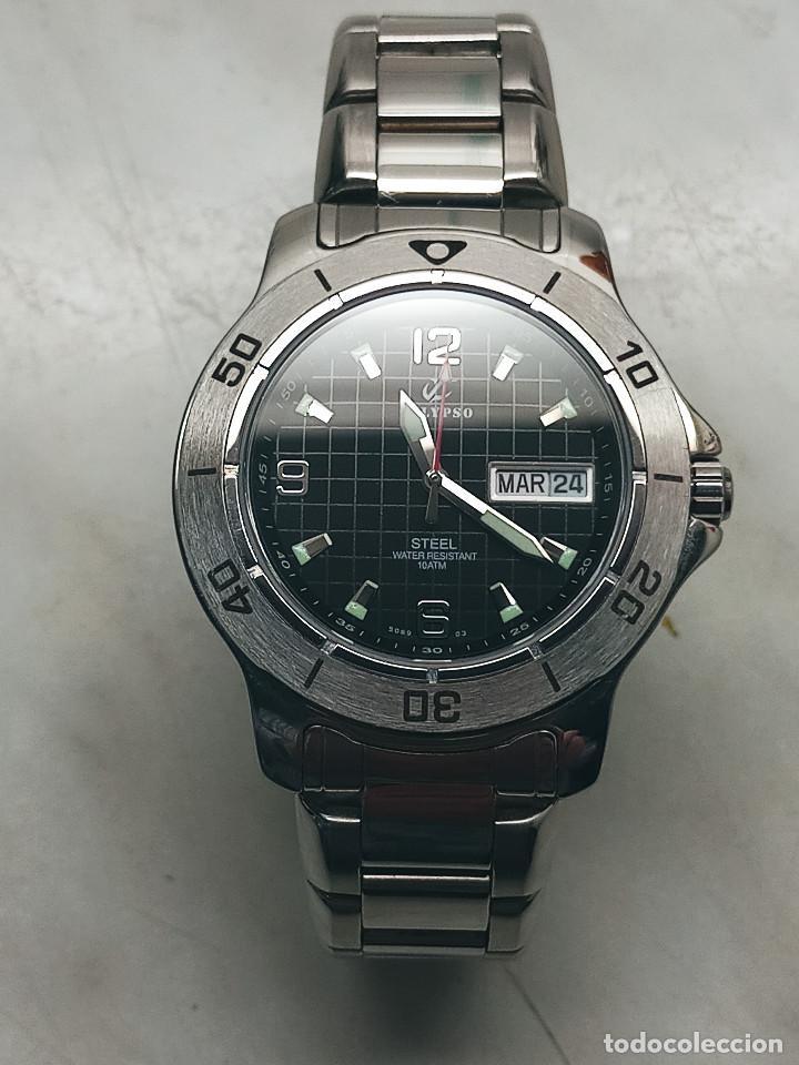 Relojes - Calypso: RELOJ CALYPSO. DOBLE CALENDARIO. IMPECABLE. ACERO CROMADO. 40 MM. A RAS SIN SALIENTES. - Foto 5 - 253439430