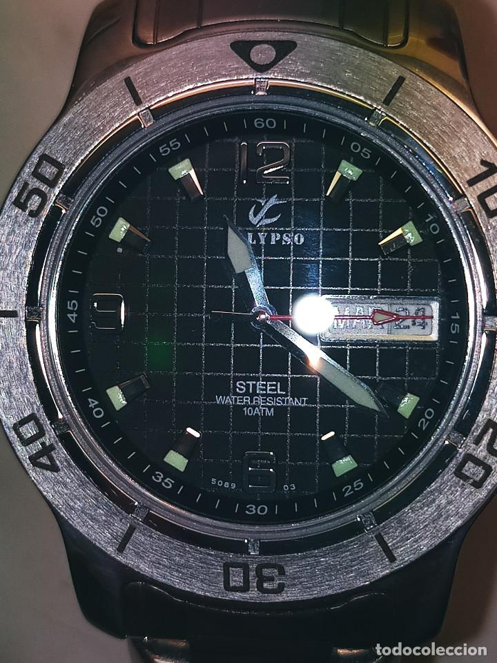 Relojes - Calypso: RELOJ CALYPSO. DOBLE CALENDARIO. IMPECABLE. ACERO CROMADO. 40 MM. A RAS SIN SALIENTES. - Foto 7 - 253439430
