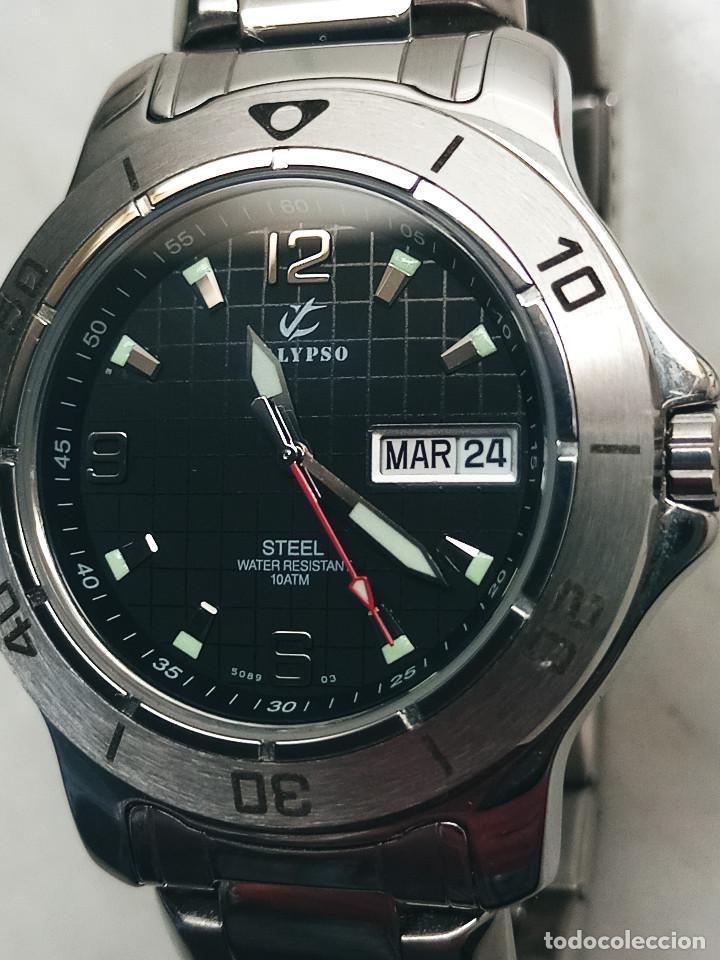 Relojes - Calypso: RELOJ CALYPSO. DOBLE CALENDARIO. IMPECABLE. ACERO CROMADO. 40 MM. A RAS SIN SALIENTES. - Foto 8 - 253439430