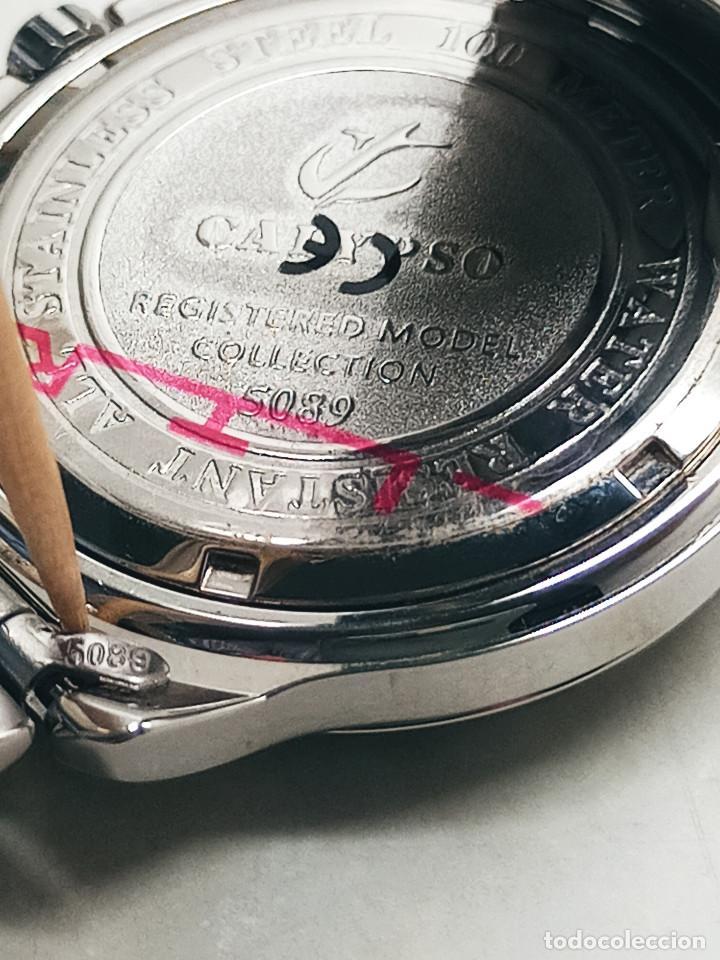 Relojes - Calypso: RELOJ CALYPSO. DOBLE CALENDARIO. IMPECABLE. ACERO CROMADO. 40 MM. A RAS SIN SALIENTES. - Foto 11 - 253439430