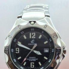 Relojes - Calypso: RELOJ CABALLERO DE CUARZO CALYPSO EN ACERO, ESFERA NEGRA, CALENDARIO LAS TRES, CORREA ACERO ORIGINAL. Lote 253819085