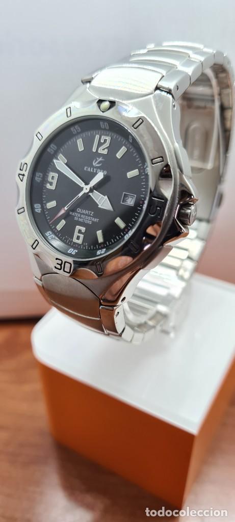 Relojes - Calypso: Reloj caballero de cuarzo CALYPSO en acero, esfera negra, calendario las tres, correa acero original - Foto 2 - 253819085