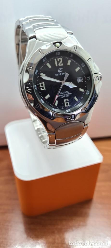 Relojes - Calypso: Reloj caballero de cuarzo CALYPSO en acero, esfera negra, calendario las tres, correa acero original - Foto 3 - 253819085