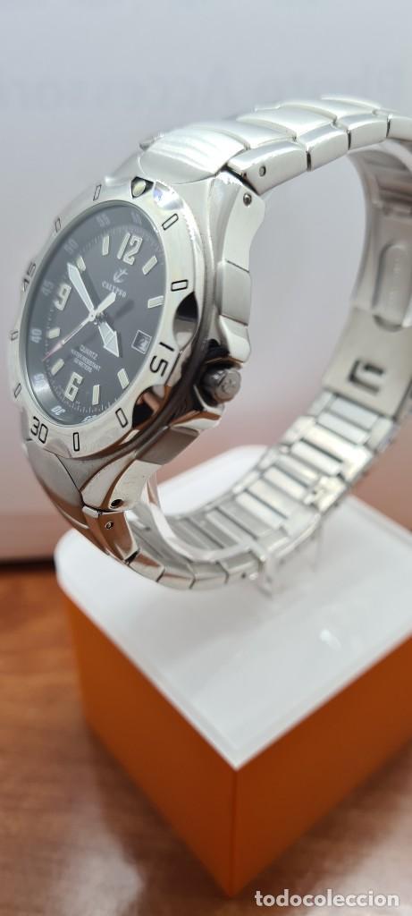 Relojes - Calypso: Reloj caballero de cuarzo CALYPSO en acero, esfera negra, calendario las tres, correa acero original - Foto 4 - 253819085
