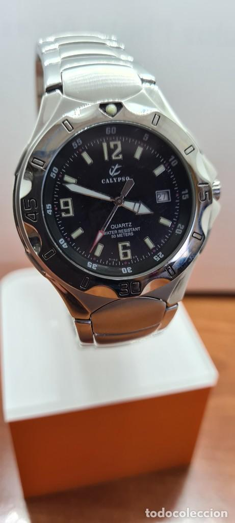 Relojes - Calypso: Reloj caballero de cuarzo CALYPSO en acero, esfera negra, calendario las tres, correa acero original - Foto 5 - 253819085