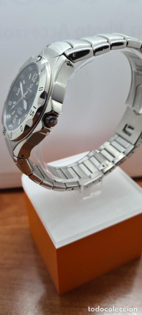 Relojes - Calypso: Reloj caballero de cuarzo CALYPSO en acero, esfera negra, calendario las tres, correa acero original - Foto 6 - 253819085