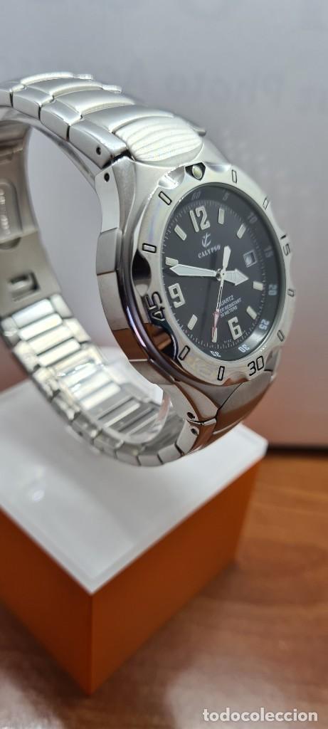 Relojes - Calypso: Reloj caballero de cuarzo CALYPSO en acero, esfera negra, calendario las tres, correa acero original - Foto 9 - 253819085