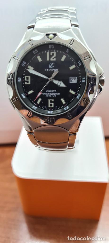 Relojes - Calypso: Reloj caballero de cuarzo CALYPSO en acero, esfera negra, calendario las tres, correa acero original - Foto 12 - 253819085