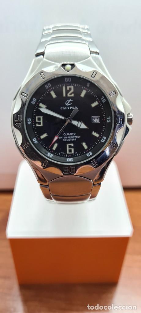 Relojes - Calypso: Reloj caballero de cuarzo CALYPSO en acero, esfera negra, calendario las tres, correa acero original - Foto 15 - 253819085