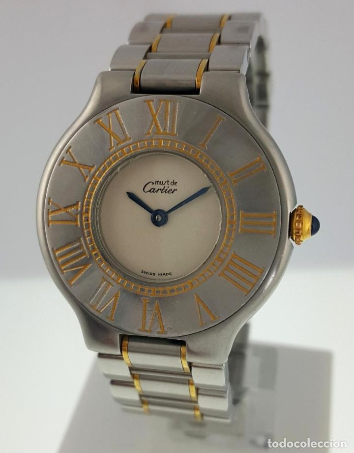 CARTIER MUST VANDOME-ACERO LAMINADO ORO 18K-MUJER-GRANDE ¡¡COMO NUEVO!! (Relojes - Relojes Actuales - Cartier)