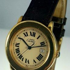 Relojes - Cartier: CARTIER RONDE 21-PLATA MACIZA LAMINADO ORO 18K 20M.CABALLERO.. Lote 64588638