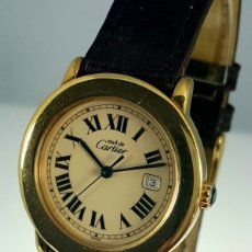 Relojes - Cartier: CARTIER RONDE 21-PLATA MACIZA LAMINADO ORO 18K 20 MICRONES CABALLERO.. Lote 64588638