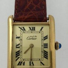 Relojes - Cartier: CARTIER PLATA PLAQUÈ ORO 18KT 20 MICRAS-UNISEX ¡¡COMO NUEVO!!. Lote 151176046