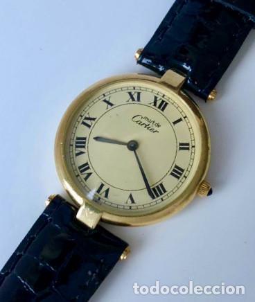 Relojes - Cartier: CARTIER PLATA PLAQUÈ ORO 18KT 20 MICRAS-UNISEX ¡¡COMO NUEVO!! - Foto 2 - 161601694
