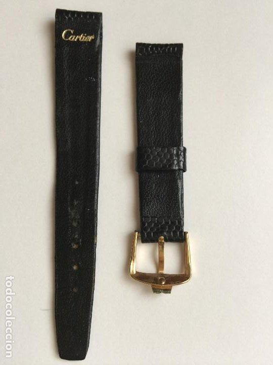 Relojes - Cartier: CARTIER RELOJ DE PULSERA ORO CHAPADO CON 2 CORREAS DE PIEL DE LAGARTO Y CORONA ZAFIRO - Foto 11 - 201139020