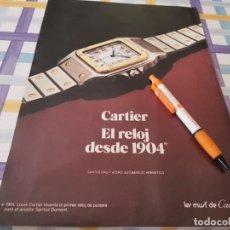 Relojes - Cartier: RELOJ CARTIER REVERSO CREMA CHRISTIAN DIOR ANUNCIO PUBLICIDAD REVISTA 1984. Lote 209820971