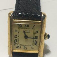 Montres - Cartier: RELOJ MUST DE CARTIER PLATA 925 CHAPADO 20MICRAS CARGA MANUAL CORREA DE PIEL. Lote 217377871