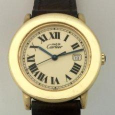 Relojes - Cartier: CARTIER RONDE 21-PLATA-PLAQUE ORO 18KTS.-HOMBRE-UNISEX. Lote 64588638