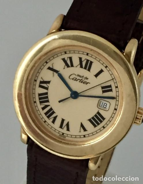 CARTIER RONDE DATE PLATA PLAQUÈ ORO 18KTS HOMBRE.COMO NUEVO (Relojes - Relojes Actuales - Cartier)