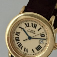 Relojes - Cartier: CARTIER RONDE DATE PLATA PLAQÈ ORO 18KTS HOMBRE-UNOSEX.COMO NUEVO. Lote 232658095