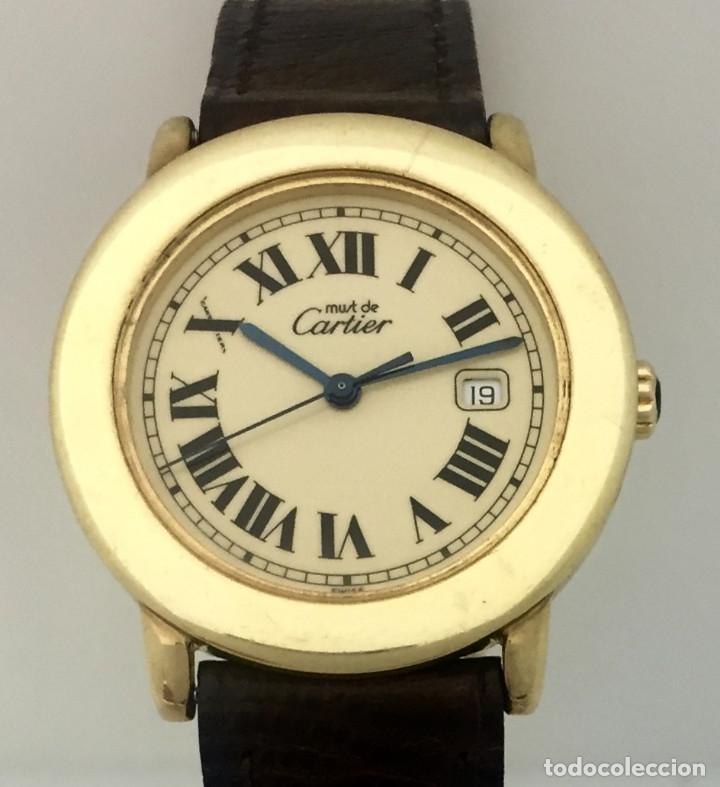 Relojes - Cartier: CARTIER RONDE DATE PLATA PLAQUÈ ORO 18KTS HOMBRE.COMO NUEVO - Foto 2 - 232658095