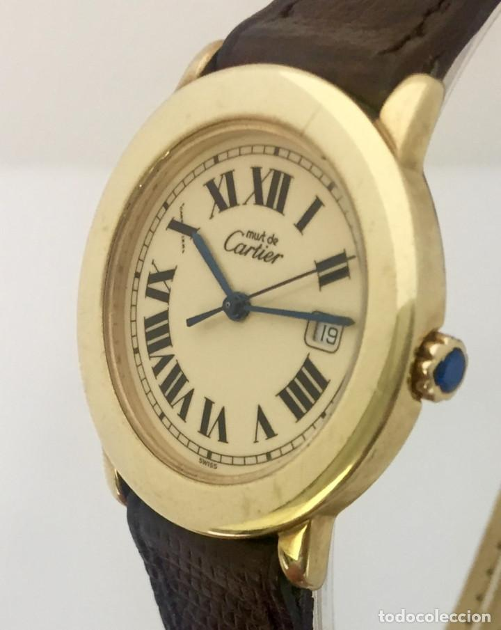 Relojes - Cartier: CARTIER RONDE DATE PLATA PLAQUÈ ORO 18KTS HOMBRE.COMO NUEVO - Foto 3 - 232658095