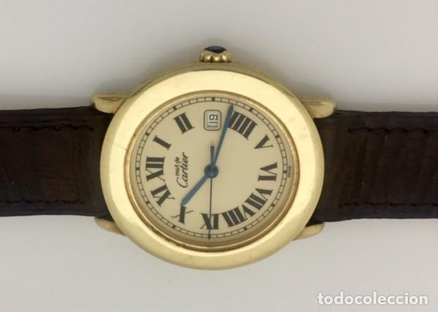 Relojes - Cartier: CARTIER RONDE DATE PLATA PLAQUÈ ORO 18KTS HOMBRE.COMO NUEVO - Foto 5 - 232658095