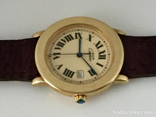 Relojes - Cartier: CARTIER RONDE DATE PLATA PLAQUÈ ORO 18KTS HOMBRE.COMO NUEVO - Foto 6 - 232658095