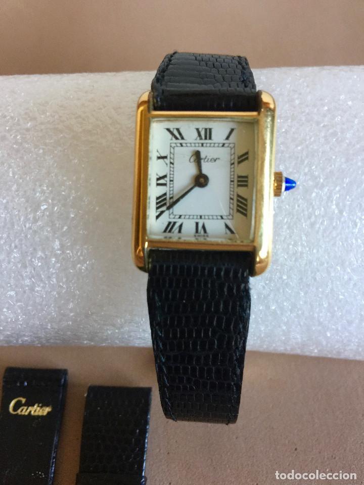 CARTIER RELOJ DE PULSERA ORO CHAPADO CON 2 CORREAS DE PIEL DE LAGARTO Y CORONA ZAFIRO (Relojes - Relojes Actuales - Cartier)