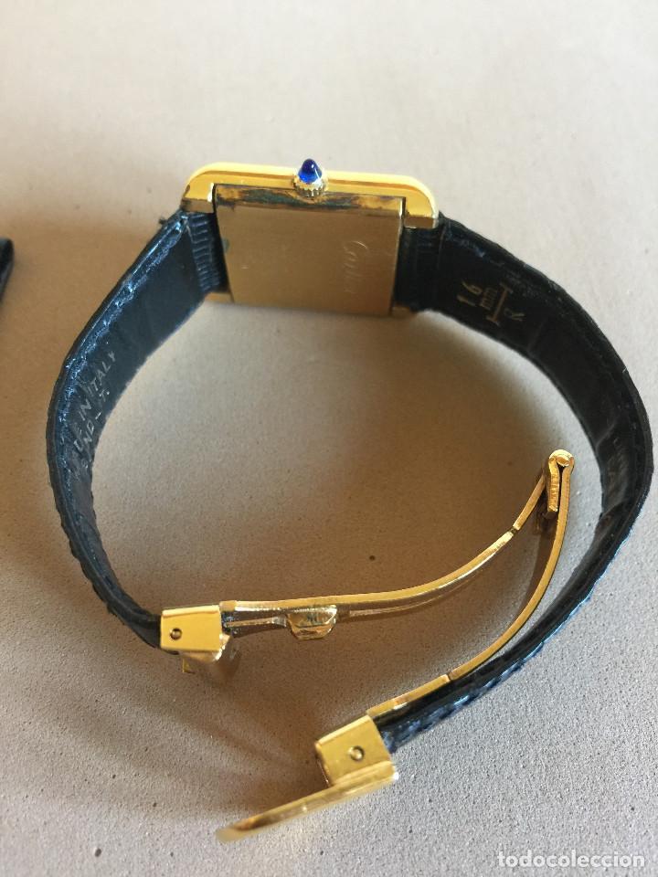 Relojes - Cartier: CARTIER RELOJ DE PULSERA ORO CHAPADO CON 2 CORREAS DE PIEL DE LAGARTO Y CORONA ZAFIRO - Foto 3 - 235904600