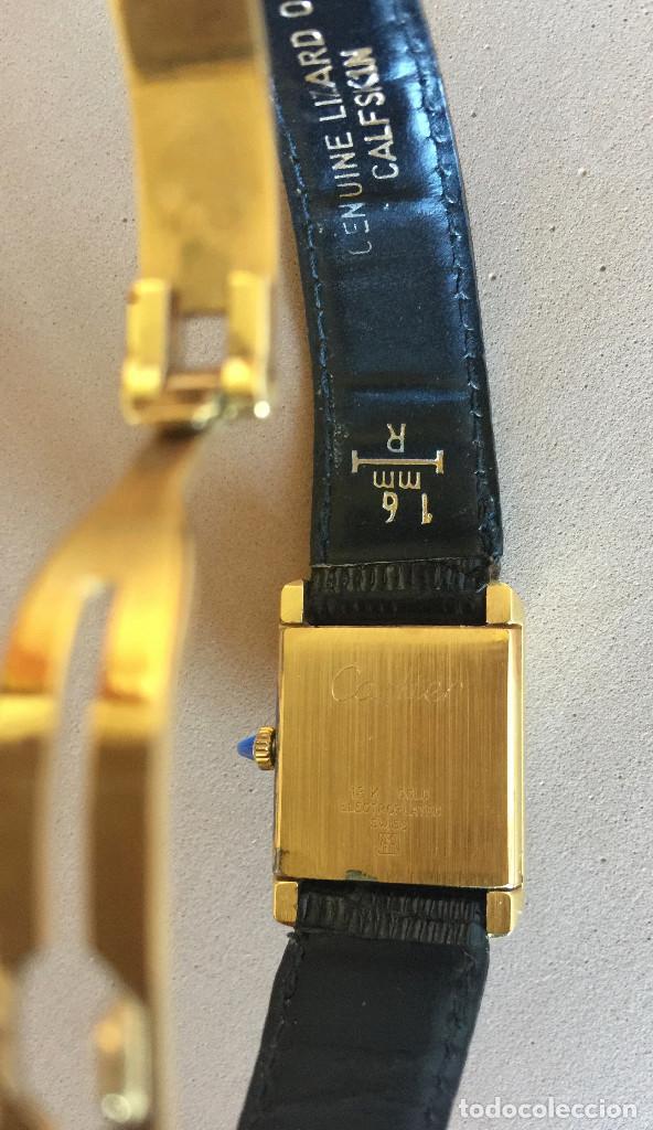 Relojes - Cartier: CARTIER RELOJ DE PULSERA ORO CHAPADO CON 2 CORREAS DE PIEL DE LAGARTO Y CORONA ZAFIRO - Foto 4 - 235904600