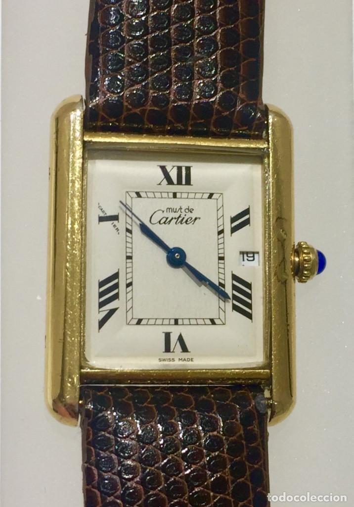 Relojes - Cartier: CARTIER TANK PLATA PLAQUÈ ORO 18KTS-HOMBRE-UNISEX - Foto 2 - 237785680